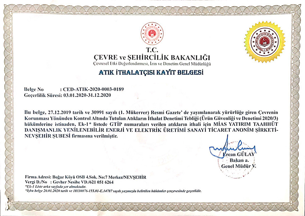 Waste Importer Registration Certificate